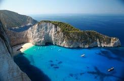 Amazing beach Navagio in Zakynthos, Greece Royalty Free Stock Image