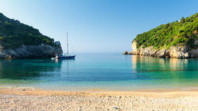 Amazing beach in Paleokastritsa on Corfu island, Greece. Typical landscape on Corfu island, greece Royalty Free Stock Photos