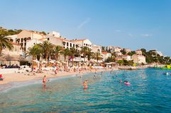 Amazing beach of Podgora with people. Croatia Stock Photography