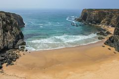 Amazing beach in Portugal stock images