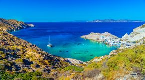 Amazing beach view. Beautiful panoramic landscape of a lagoon with mountains around it, gorgeous nature of Milos island, Greece, Europe, summer vacation on royalty free stock photos