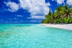 Amazing beach with white sand and palm trees, Rarotonga, Cook Is Stock Photo