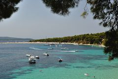 Amazing beach Zlatni rat (Golden Cape). Island Bra Stock Image