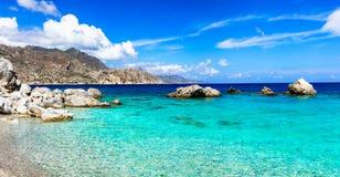 Amazing beaches of Greek islands. Apella in Karpathos stock photos