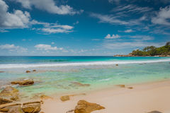 Amazing beaches of the Seychelles. Clear crystal soft sands with amazing view of the indian ocean in Anse Intendance, Mahe, Seychelles Stock Image
