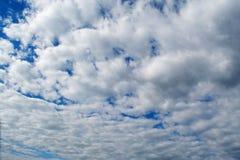 Beautiful blue cloudy morning sky. Amazing beautiful blue bright cloudy morning sky in Ukraine Royalty Free Stock Photo