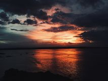 Amazing beautiful bright colorful red sunset view royalty free stock photography