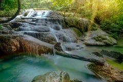 Amazing beautiful deep forest waterfall in Erawan National Park,. Kanchanaburi, Thailand Stock Photography