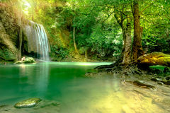 Amazing beautiful deep forest waterfall in Erawan National Park,. Kanchanaburi, Thailand Royalty Free Stock Images