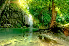Amazing beautiful deep forest waterfall in Erawan National Park,. Kanchanaburi, Thailand Royalty Free Stock Image