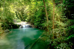 Amazing beautiful deep forest waterfall in Erawan National Park,. Kanchanaburi, Thailand Royalty Free Stock Photography