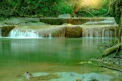 Amazing beautiful deep forest waterfall in Erawan National Park,. Kanchanaburi, Thailand Royalty Free Stock Photo