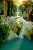 Amazing beautiful deep forest waterfall in Erawan National Park,. Kanchanaburi, Thailand Stock Image