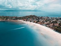 Amazing beautiful island with white sand beach and tropical lagoon. Aerial shot Royalty Free Stock Images
