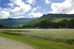 Amazing beautiful landscape Green Lake Lagoa Verde in Sete Cidades of Sao Miguel island of Azores Stock Photos