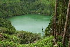 Amazing beautiful landscape view of green lagoon Lagoa do Rasa o Stock Photos