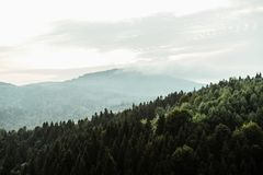 Amazing beautiful landscape view of rocks and forest and sky in. Sunset mountains royalty free stock photo