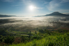 Amazing beautiful misty morning in Thailand. Amazing beautiful misty morning sunrise and road in mountain at Khao-kho Phetchabun,Thailand Stock Image