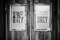 Designer photo of sign  ` STAFF ONLY` Stock Image