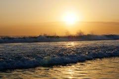 Amazing beautiful sea landscape sunset view of Seminyak Double Six beach in Bali island of Indonesia Stock Photography