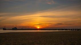 Sunrise on the Baltic sea, Sopot Molo, Poland. Amazing and beautiful sunrise on the Baltic sea, Sopot Molo, Poland royalty free stock photos
