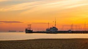 Sunrise on the Baltic sea, Sopot Molo, Poland. Amazing and beautiful sunrise on the Baltic sea, Sopot Molo, Poland royalty free stock images