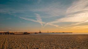 Sunrise on the Baltic sea, Sopot Molo, Poland. Amazing and beautiful sunrise on the Baltic sea, Sopot Molo, Poland royalty free stock photo