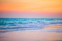 Amazing beautiful sunset on an exotic caribbean seashore. Stunning beautiful sunset on an exotic caribbean beach Stock Photography