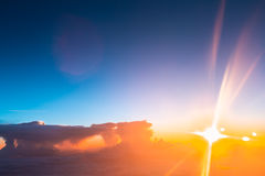 Amazing Beautiful Sunset Sunrise Over Mountains From Height Of Airplane Royalty Free Stock Photos