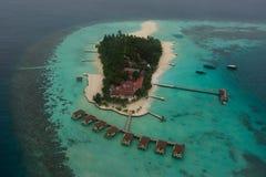 Amazing beautiful tropical island arial view at Maldives Stock Photo