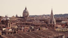 Amazing, beautiful view of Italian medieval town. Typical Italian rooftops. Journey time. Beautiful scenery, summertime. Day, sunny weather. No people around stock video footage