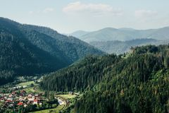 Amazing beautiful view of mountains hills and valley on backgrou Royalty Free Stock Photography