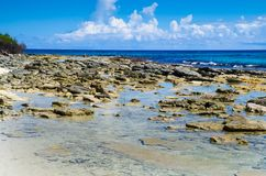 Amazing beautiful view of rocks in San Andres Island from Johnny Cay in a gorgeous sunny day in Colombia Stock Image