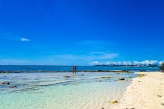 Amazing beautiful view of San Andres Island from Johnny Cay in a gorgeous sunny day in San Andres, Colombia.  Royalty Free Stock Photos