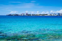 Amazing beautiful view of San Andres Island from Johnny Cay in a gorgeous sunny day in San Andres, Colombia.  Royalty Free Stock Image