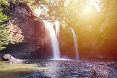 Amazing beautiful waterfalls in deep forest at Haew Suwat Waterfall in Khao Yai National Park. Thailand stock photos