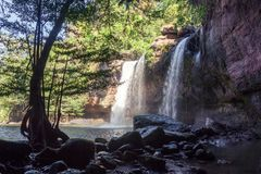 Amazing beautiful waterfalls in deep forest at Haew Suwat Waterfall in Khao Yai National Park Royalty Free Stock Photos