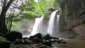 Amazing beautiful waterfalls in deep forest at Haew Suwat Waterfall in Khao Yai National Park stock video footage