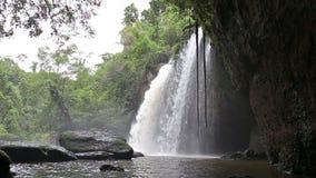 Amazing beautiful waterfalls in deep forest at Haew Suwat Waterfall stock video