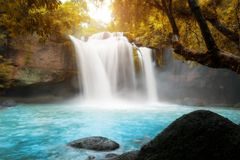 Amazing beautiful waterfalls in tropical forest at Haew Suwat Wa Royalty Free Stock Photography