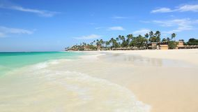 Amazing beauty white sand beach of Aruba Island. Turquoise sea water and blue sky. Beautiful background stock footage