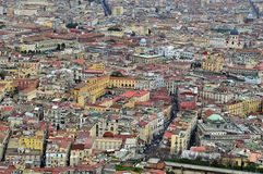 Looking down on Naples from Castel Sant Elmo. Amazing birds eye view of the beautiful city of naples napoli from the castel sant elmo. roofs coloured buildings stock images