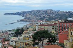 Looking down on Naples from Castel Sant Elmo. Amazing birds eye view of the beautiful city of naples napoli from the castel sant elmo. roofs coloured buildings royalty free stock photo