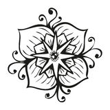 Amazing black flower in tattoo style Royalty Free Stock Image
