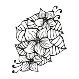 Amazing black flowers in tattoo style Royalty Free Stock Photo