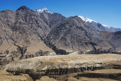 Amazing black mountain and desert ,Leh-Nubra Valley Rd. Ladakh ,India Stock Photography