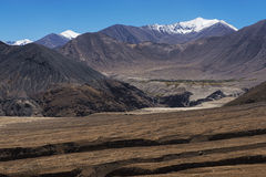 Amazing black mountain and desert ,Leh-Nubra Valley Rd. Ladakh ,India Royalty Free Stock Photo