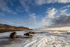 Vik. The amazing black sand beach at Vik, Iceland royalty free stock photo