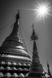 Amazing black and white photography of golden stupa, chedi and pagoda in buddhist temple in Thailand Stock Image