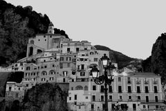 Amazing Black and White View of Amalfi Ancient Village. Dreamstime Collection - B stock images